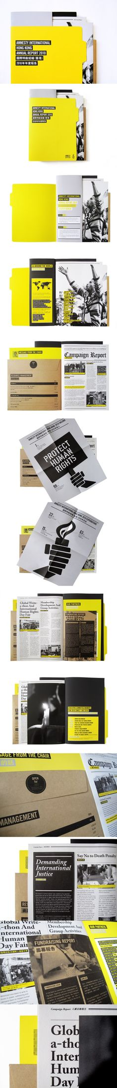 Amnesty International Hong Kong Annual Report 2010 on Behance - created on Web Design, Layout Design, Graphic Design Layouts, Print Layout, Graphic Design Print, Graphic Design Inspiration, Book Design, Design Ideas, Shape Design