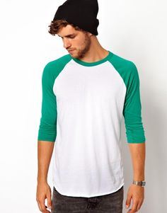 Shop American Apparel Raglan Top at ASOS. American Apparel, Young Vic, Custom T Shirt Printing, Green Fashion, Tank Man, Asos, Fashion Outfits, Mens Tops, Shirts