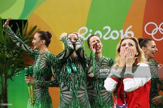 Group Bulgaria reacts after winning bronze in Group all-around at the Olympic Games 2016