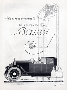 Ballot (Cars) 1923 René Vincent Vintage advert Cars illustrated by René Vincent | Hprints.com