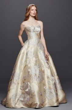 oleg cassini brocade david's bridal | Oleg Cassini Brocade Wedding Dress With Pockets ($1,150, David's ...