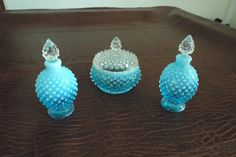 Hey, I found this really awesome Etsy listing at https://www.etsy.com/listing/198263501/3-piece-vanity-set-fenton-blue-opalscent