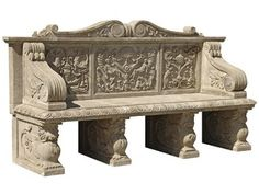 Classical Stone Bench - Highly carved bench resting on lion corbel feet £5,175.00