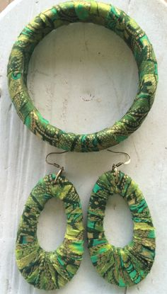 Bracelet and Earring Ragged Fabric Covered Set by ReVeLinDesigns on Etsy