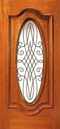Mahogany Entry Door With 3/4 View Oval Glass And Wrought Iron Insert. Find