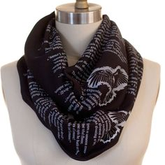 Wrap up with a good Book Scarf! Let everyone know about your great taste in literature by wrapping Edgar Allan Poe's classic poem around your neck! This infinity scarf will keep you looking & feeling