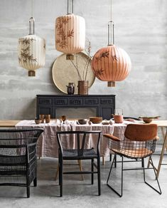 hand-painted chinese lanterns over modern dining tablescape. So pretty Decor, Modern Dining, Interior, Chinese Interior, Home Remodeling, House Interior, Dining Room Decor, Dining Room Table, Interior Design