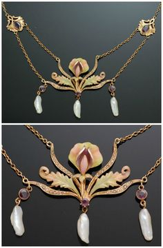 Antique Art Nouveau gold and enamel necklace with pearls.