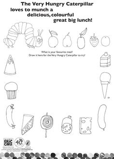 Very Hungry Caterpillar Coloring Pages | Colour the Very Hungry Caterpillar's lunch - Scholastic Book Club