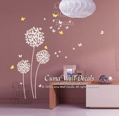 wall decal butterfly and flower Vinyl wall decal girl by cuma, $38.00