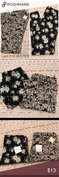 Forever XXI two pairs of floral leggings Two pairs of Forever 21 floral leggings. The black pair was worn twice and is a little smaller than the pair that was never worn.  See MEASUREMENTS in the pictures. Excellent condition. Forever 21 Pants Leggings