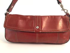 FOSSIL Red Leather Clutch Hand Bag Purse * Excellent! | eBay
