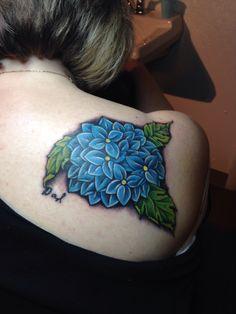 Horseshoe Tattoo in Milwaukee, WI. Tattoo by the talented artist Jason Stedman. Hydrangea tattoo with my Dad's signature.