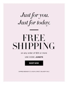 Avon Free Shipping Code: Get Free Shipping on your Avon order of $25 or more. Use Code: JUNEFS at  http://brookekarnold.avonrepresentative.com. Expires: Midnight 6/30/16.