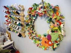 """scrappy wreath-loving the BRIGHT colors!! Use strips 2""""X5"""" onto a metal/wire wreath frame, tied fabric into a simple knot times 200+"""