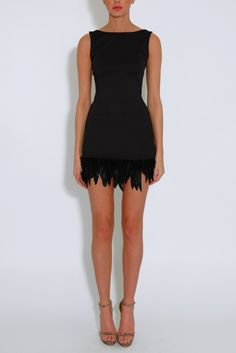 Black Feather Trim Scooped Back Dress From Rare London