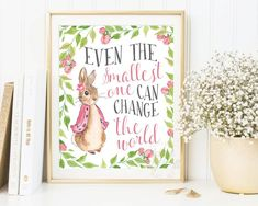 Peter Rabbit Nursery Prints, Baby Shower, Beatrix Potter quote, Baby Girl, Nursery Wall Art, Nursery Decor, Peter Rabbit Print, by AdornMyWall on Etsy