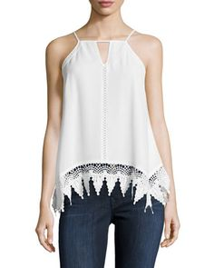 Lace-Trim+Chiffon+Tank,+White+by+Clarte+at+Neiman+Marcus+Last+Call.