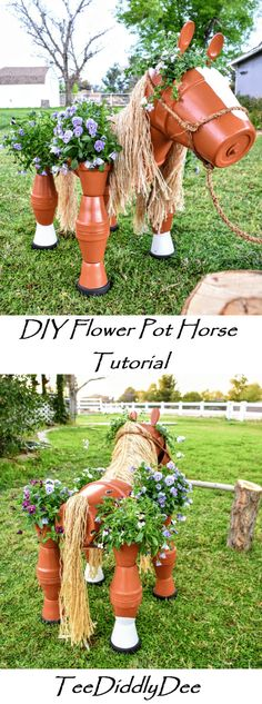 DIY Clay Horse Flower Pot Tutorial - Fun, Whimsical and great for Equestrians - - This DIY Clay Horse Flower Pot Tutorial makes an adorable focal point in your garden. It is the perfect yard décor for those who love horses! Flower Pot Art, Clay Flower Pots, Flower Pot Crafts, Clay Pot Projects, Clay Pot Crafts, Diy Clay, Shell Crafts, Flower Pot People, Clay Pot People