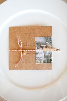 Wedding decor with personal touches - old family photos incorporated into dinner menus
