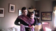 Hip Cross Carry with six month old. First tied on around baby. Then shown as a pop-able carry.