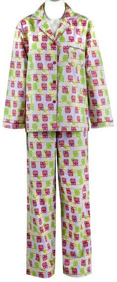 a9adb05a108 Amazon.com  Leisureland Women s Cotton Flannel Sleep Pajama Sets Hope Faith  Love Owl Medium