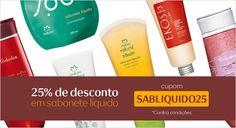 Aqui tem cupom_SABLIQUIDO25 (01 a 03/08) Gosta de sabonete líquido? Então aproveite para comprar online com 25% de desconto! Use o cupom SABLIQUIDO25 ao finalizar a sua compra e aproveite.