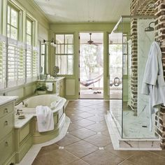 Love the whole feel of this bathroom.  That shower is amazing!
