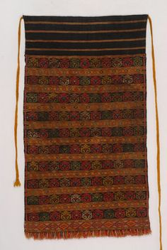 Thymiati apron (Θυμιατή ποδιά), complex pattern decorations made in the loom by experienced weavers. Soufli, Evros, Thrace (Σουφλί, Έβρου, Θράκη) [http://www.texmedindigitalibrary.eu/?show_item&item_id=345; http://piopcollections.piraeusbank.gr/index.php/object_number/GR%20PIOP%20M02_83/priref/749]