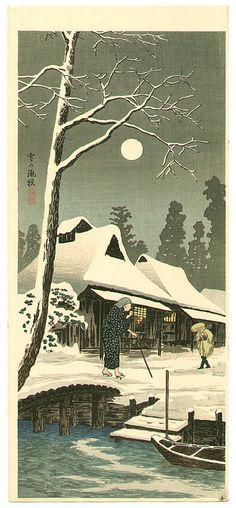 Snowy Night with Hazy Moon