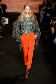 See the entire collection from the Paul & Joe Fall 2012 Ready-To-Wear runway show. Love Fashion, Runway Fashion, Autumn Fashion, Paris Fashion, Cara Delevingne Style, Orange Jeans, Haute Hippie, Mesh Dress, Beautiful Outfits