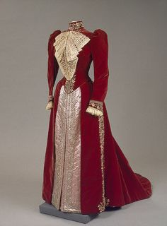 Dress of Empress Maria Fyodorovna. Charles Frederick Worth's Firm, Paris, France. 1890s. Velvet, satin, lace, silk and silver thread, metal and glass beads, paste; embroidered. L.: bodices 46 and 56 cm, skirt 324 cm