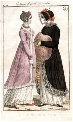 """""""Costumes françois et anglois"""" (January 1803) - """"The German edition of this French publication was still written in French, with most of the text being an exact copy. I suppose French was the language of fashion, as this was a magazine about fashion. Prints from the German edition almost always took plates from the original French edition and modified them, generally by joining figures from two separate plates into one, as here, where we have an evening dress and a walking dress."""""""