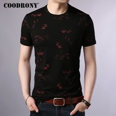 6ed97339db0 COODRONY T Shirt Men Cotton Men s Shirt 2019 Summer O-Neck T-shirt Men  Streetwear Short Sleeve Tee Shirt Homme Floral Top S95014