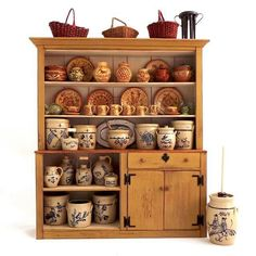 New England Crock Cupboard filled with pottery Vitrine Miniature, Miniature Rooms, Miniature Kitchen, Miniature Furniture, Dollhouse Furniture, Diy Dollhouse, Dollhouse Miniatures, Antique Stoneware, Earthenware