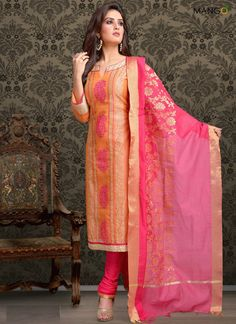 MAGNETIZE CHANDERI ORANGE AND PINK CHURIDAR DESIGNER SUIT