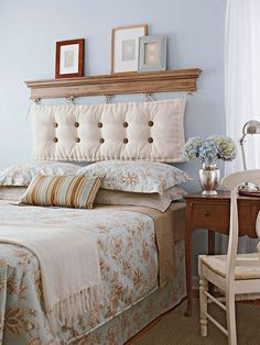 """I love this and I think I've pinned this before. Great way to """"fake"""" a headboard."""