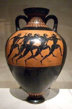 This Panathenaic amphora vase is a black-figured vessel that shows how much the Greeks worshiped nature and gods (shown in the motifs). I believe the image in this piece prevails some of the Greek gods or goddesses. What I like most about ancient Greece and their pottery is how they paint with such abstract designs and how the murals portray everyday Greek life. www.flickriver.com