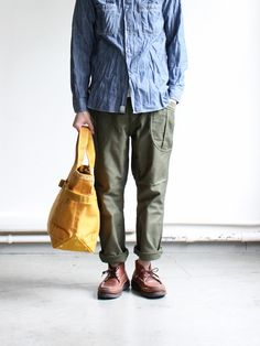 timpoblete: Strato styling: Chambray, fatigue, brown and tan (http://www.strato.co.jp/SHOP/VTD-0257-PT.html)