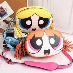 Kawaii Cartoon The Powerpuff Girls Yellow Orange Green Crossbody Bags W Tassels Cartoon Bag, Bookmarks Kids, Chloe Handbags, Bratz Doll, Girls Bags, Cute Bags, Powerpuff Girls, Luxury Bags, Small Bags