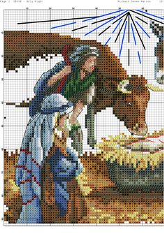 Christmas Charts, Christmas Rugs, Cross Stitch Charts, Cross Stitch Designs, Religious Cross Stitch Patterns, Cross Stitch Christmas Stockings, Cross Stitching, Pixel Art, Painting