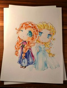 Chibi Sisters by Lighane.deviantar… on Chibi Sisters by Lighane.deviantar… on Arte Disney, Disney Fan Art, Disney Love, Disney Frozen, Anna Frozen, Chibi Disney, Disney And Dreamworks, Disney Pixar, Disney Sketches
