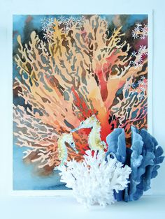 Gorgeous Original Underwater Watercolor Painting with Stunning Red Coral and Adorable Sea Horses.