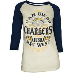 San Diego Chargers Ladies Sunday Pride Three-Quarter Sleeve Slub T-Shirt - Cream-Navy Blue