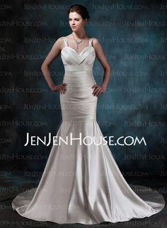 Wedding Dresses - $167.99 - Mermaid Sweetheart Chapel Train Satin Wedding Dress With Ruffle (002001189) http://jenjenhouse.com/Mermaid-Sweetheart-Chapel-Train-Satin-Wedding-Dress-With-Ruffle-002001189-g1189