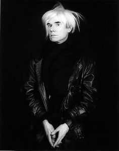 """a Robert Mapplethorpe photo of Andy Warhol.((He used to have sever wigs of different lengths and would wear them and go have his """"hair"""" cut...lol...just a little FYI~Paula))"""