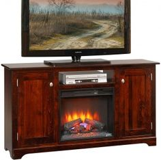 The Amish Latimer 61 Fireplace TV Stand Is Entertainment Space Addition You Are Looking For Add This Superb Piece To Your And Will Not Regret