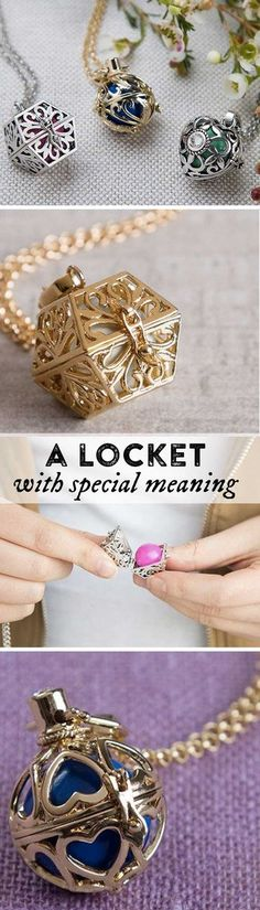 These lockets feature filigree-like detailing with crystal accents. And, instead of holding a picture inside like a traditional locket, each one houses a sphere with a chime inside. You personalize each necklace by choosing the color of the sphere—it could be something symbolic to you or simply your favorite hue. A great gift for her.