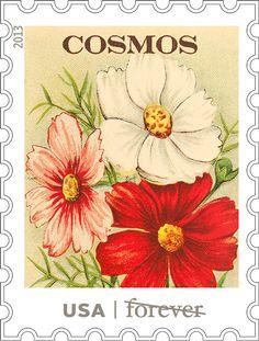 Ilustrações de selos postais americanos