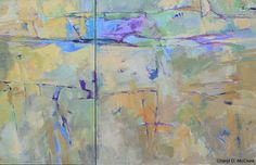 Johnson Creek blue-green-violet diptych acrylic on 2 canvases 36 x 60 x 1.5 inches